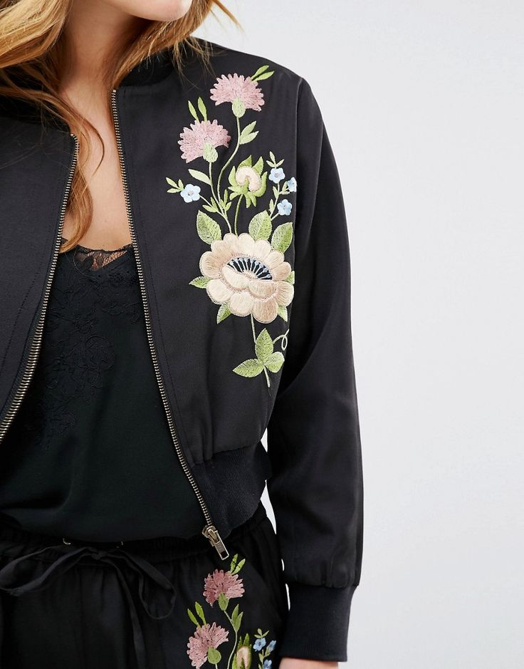 Image 3 ofGlamorous Petite Floral Embroidered Bomber