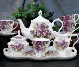 ♥•✿•♥•✿ڿڰۣ•♥•✿•♥  Pansy Bone China Tea Set  ♥•✿•♥•✿ڿڰۣ•♥•✿•♥