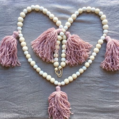 Tassel Wood Bead Garland by Tiger Lily Tots, dusty pink