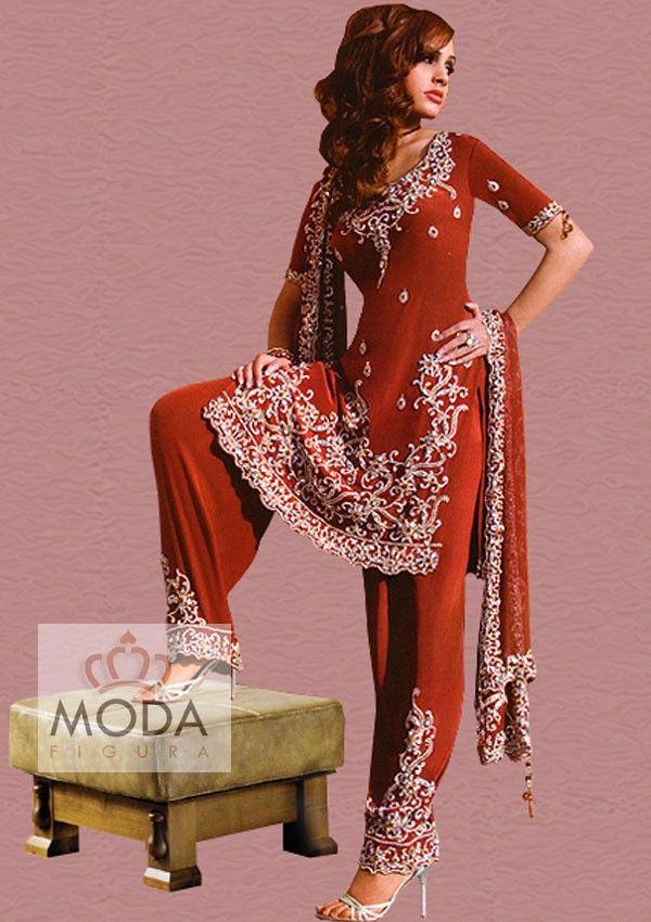 Red crepe heavy hand embroidered and embellished punjabi bridal shalwar kameez