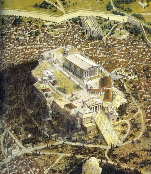 historical context The Acropolis of Athens as it would have appeared in the classical (ca. 420 BC) period. The Acropolis was destroyed by the Persians in 490 BC and rebuilt to even greater levels of splendor. Visible are the famous Parthenon, Erechtheion, and Propylaia.