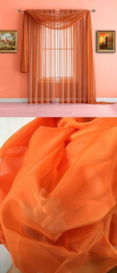 Warm Home Designs Orange Sheer Window Curtains. Each Voile Drape Is 56 X 84 Inches. Great for Kitchen, Living Room, Bedroom, Kids Room or Office. 2 Fabric Panels Per Package. Color: Orange 84""