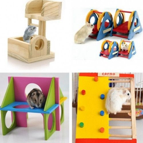 Colorful Wooden Recreation Hamsters Equipment