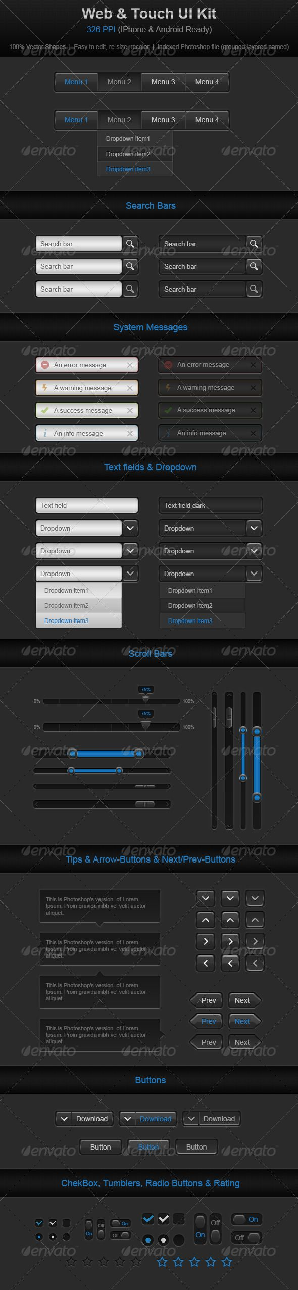 Web & Touch UI Kit - #User #Interfaces #Web Elements Download here:  https://graphicriver.net/item/web-touch-ui-kit/2431143?ref=alena994