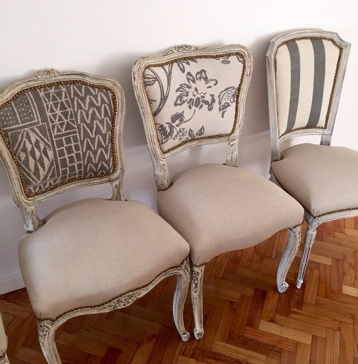 Nice idea for coordinating chairs! I have carved cherry wood backs, but I'd love to do the seats in fabrics like these, with colors in my Summer Breeze dishes. Sillas francesas