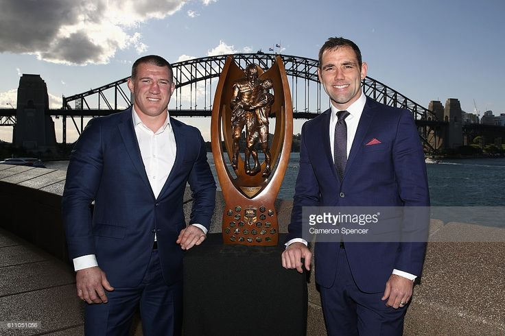 Cronullla-Surtherland Sharks captain Paul Gallen and Melbourne Storm captain Cameron Smith pose with the Provan-Summons Trophy during the NRL Grand Final press conference at Sydney Opera House on September 29, 2016 in Sydney, Australia.