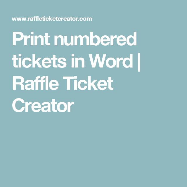 print numbered tickets in word
