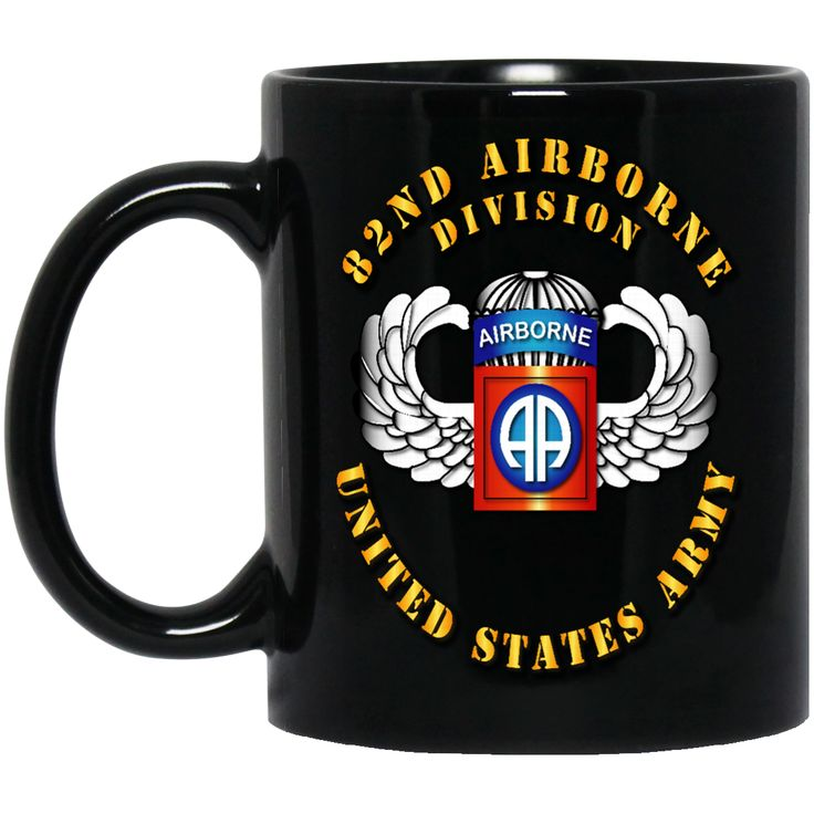 82ND AIRBORNE DIVISION SSI WINGS BM11OZ 11 oz. Black Mug