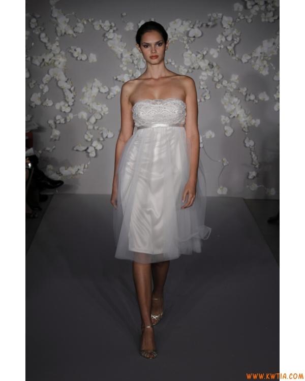 bez ramiączek elegancki prosty biały tiul krótki Suknie ślubne On line