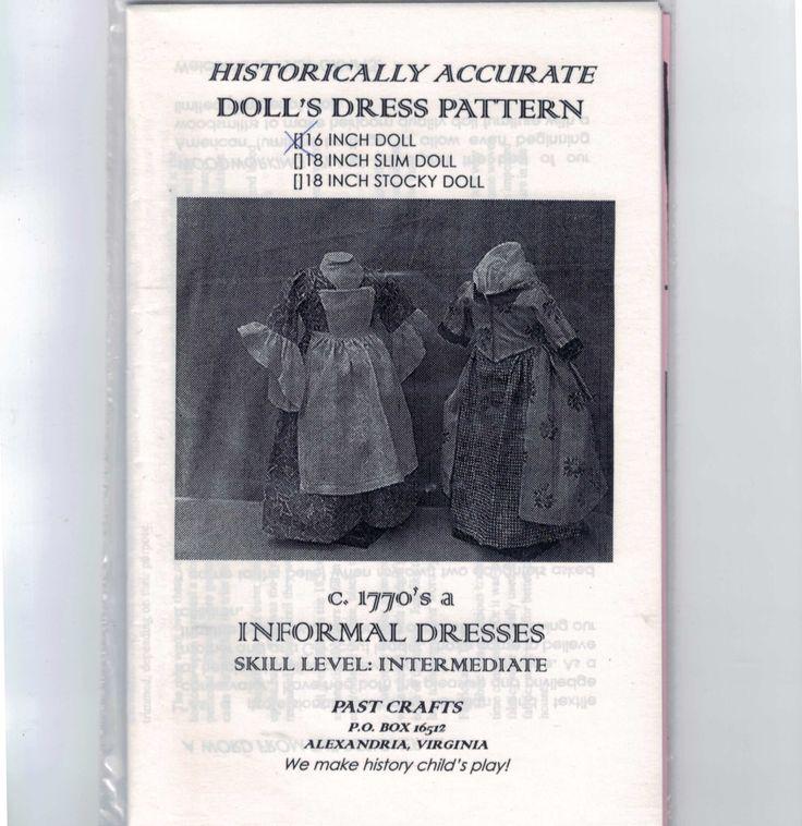 16 pouces poupée couture patron guerre révolutionnaire coloniale années 1770 informel robes tablier American Girl Type intermédiaire passé l'artisanat UNCUT par PastCrafts sur Etsy https://www.etsy.com/ca-fr/listing/193240177/16-pouces-poupee-couture-patron-guerre