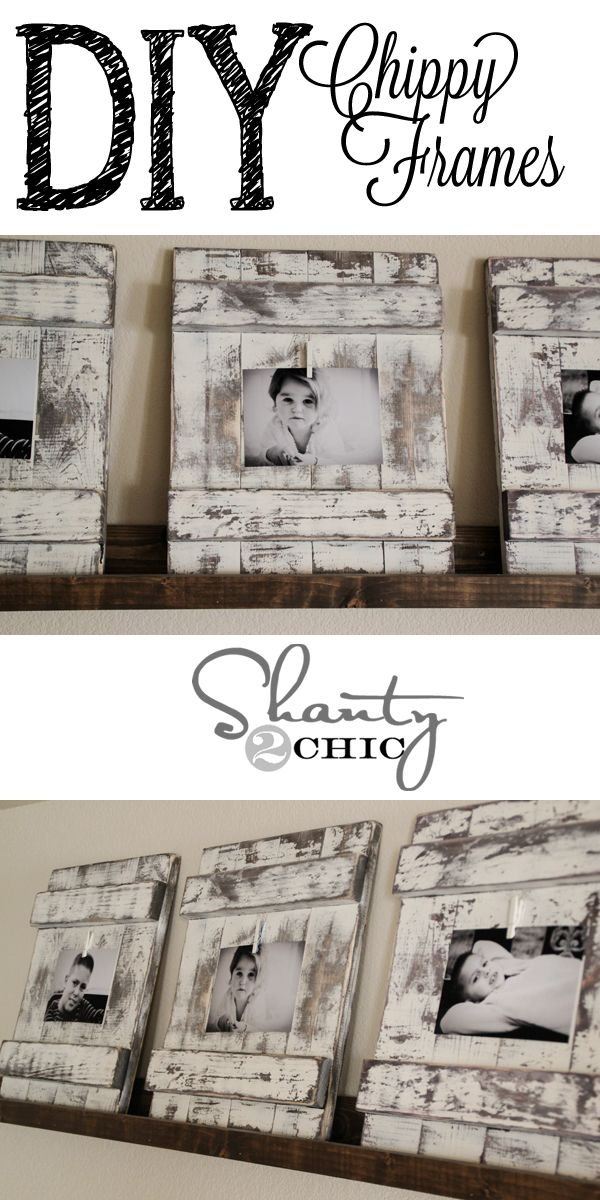 Love the chippy finish on these frames and they look so easy!!! DIY Picture Frames