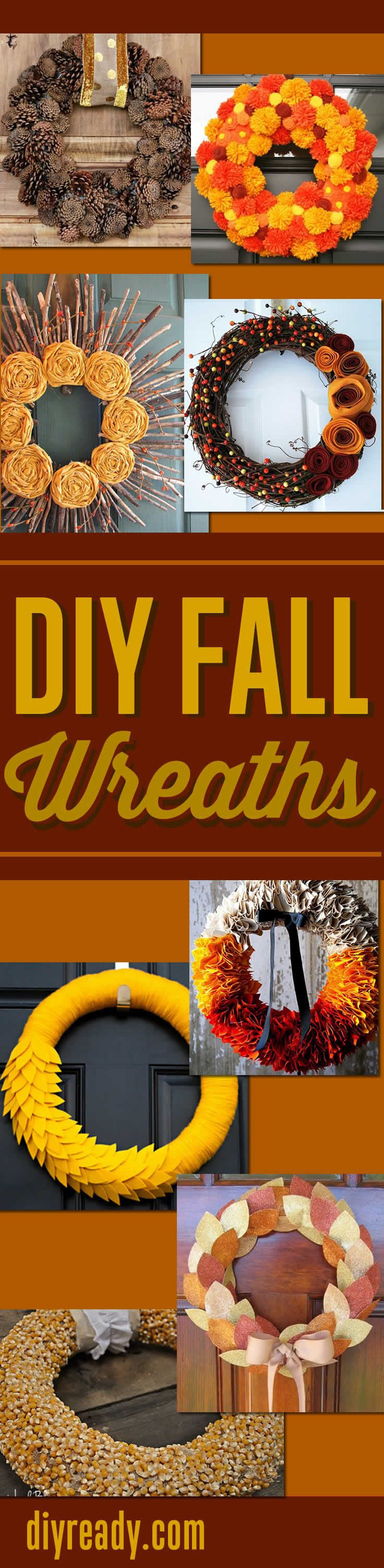 DIY Fall Wreaths - Super Homemade Wreaths for Your Front Door diyready.com #diy #fall #crafts #projects