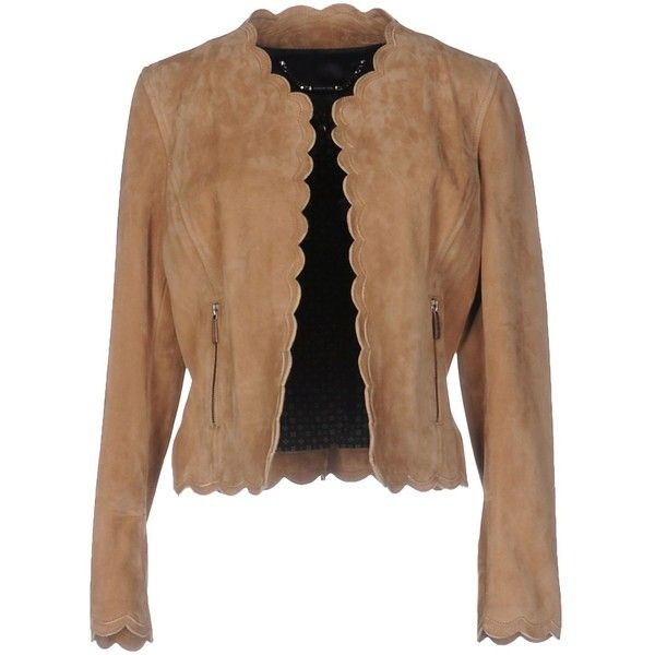 Barbara Bui Blazer ($1,330) ❤ liked on Polyvore featuring outerwear, jackets, blazers, camel, leather blazer jacket, camel leather jacket, barbara bui, real leather jackets and single breasted jacket