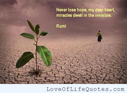 Rumi - Never lose hope, my dear heart - http://www.loveoflifequotes.com/inspirational/rumi-never-lose-hope-my-dear-heart/