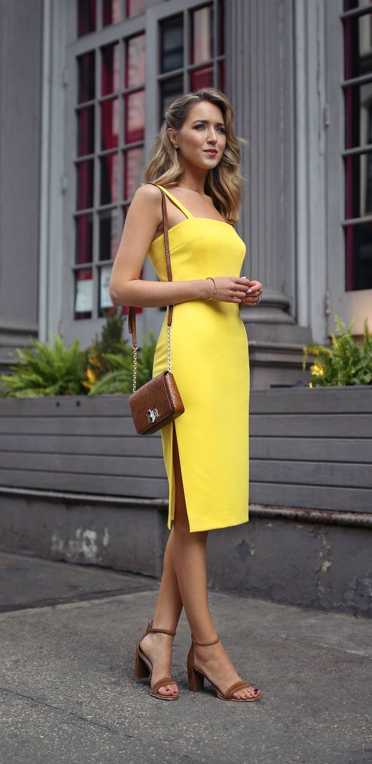 dbffbbdc1058 what to wear to a baby shower // lemon yellow sheath midi dress with thin  straps and side slit, brown suede leather block heel sandals