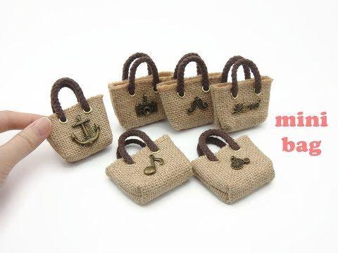 DIY Miniature Doll Mini Bag Tote Hemp Bag – YouTube