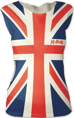 Def Leppard Women's T-shirt - Def Leppard Union Jack British Flag Logo   Sleeveless Shirt