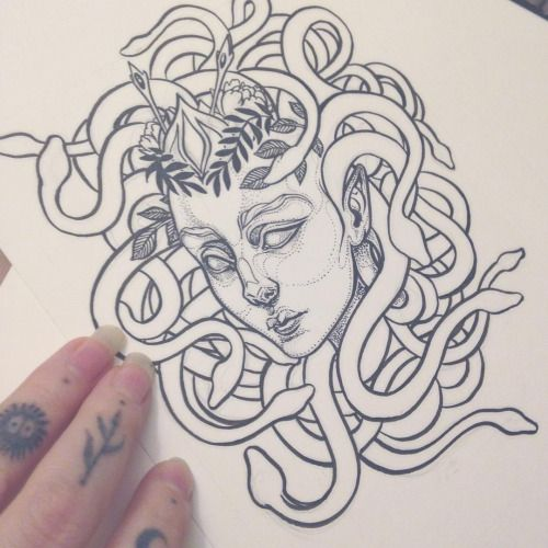 Medusa tattoo commission wip. Much details and edits to come. I am getting a…