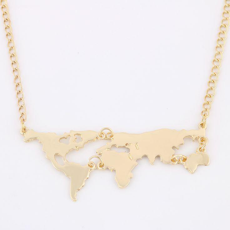 Nuevo Mapa Del Mundo de Color de Oro de La Moda Collar Colgante de Joyería De Las Mujeres 8675
