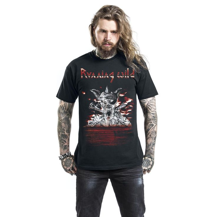 """Classica T-Shirt uomo nera """"Bloody Island"""" dei #RunningWild."""