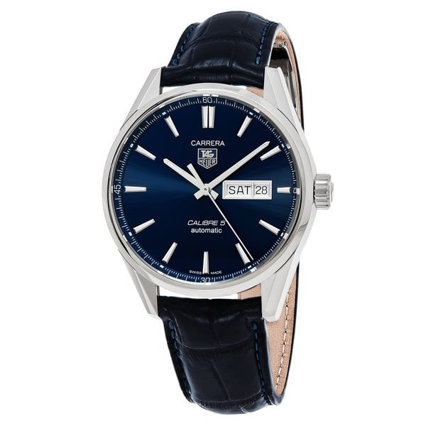 Tag Heuer Men's WAR201E.FC6292 'Carrera' Blue Dial Blue Leather Strap Day Date Swiss Automatic Watch