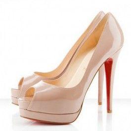 Chaussures Louboutin Pompe Plates-formes En Cuir Verni D'agneau Nude