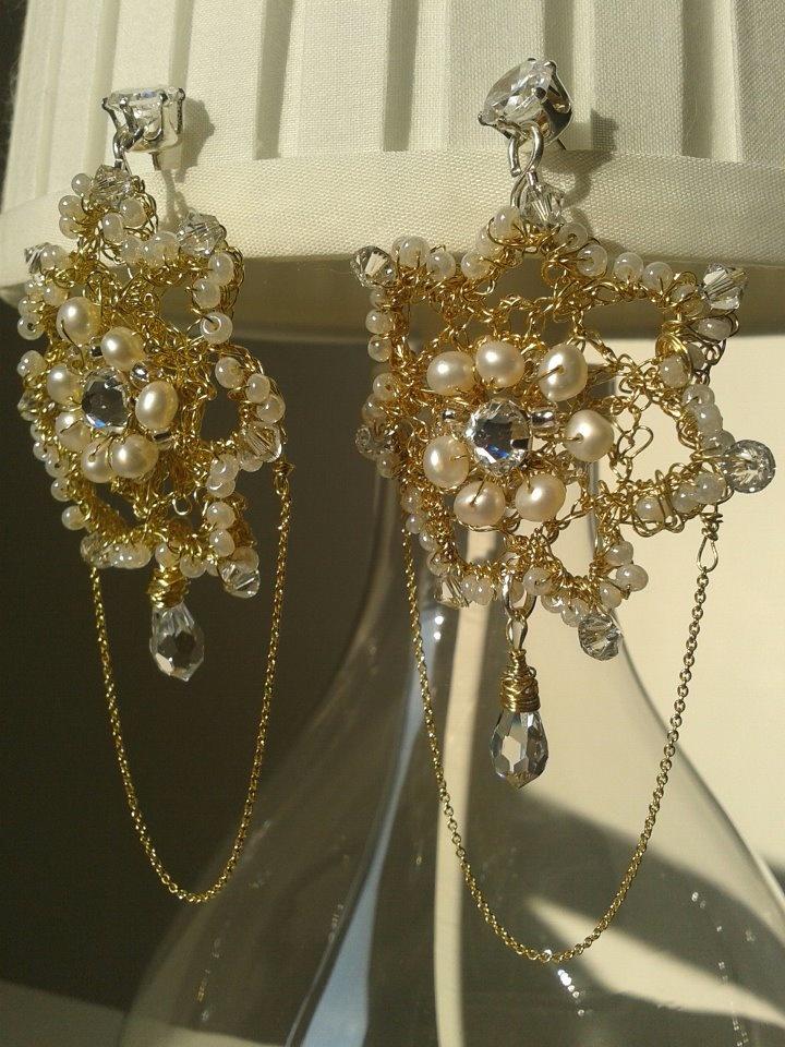 orecchini cristalli e perle d'acqua dolce