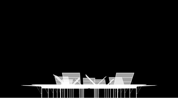 Sean Godsell's MPavilion in Melbourne. The MPavilion is conceived as a blooming flower, a closed box in the night, its 'petals' opening up at daybreak