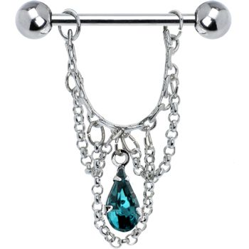Blue Zircon Teardrop Chain Dangle Nipple Ring #bodycandy #nipplering #gem $6.99