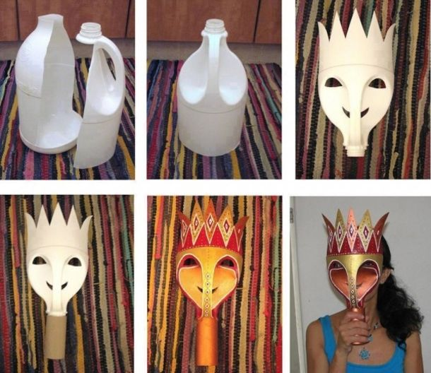 Here is a fun and inexpensive way to make a mask from an old milk jug.  Just a few cuts in the right spots and then you can decorate it however you want and voila you have a mask!  This easy craft is perfect for Halloween.