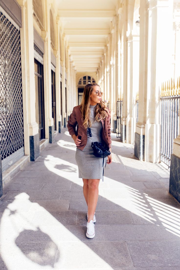 Rose gold bomber // grey dress // white converse // outfit by alexa dagmar
