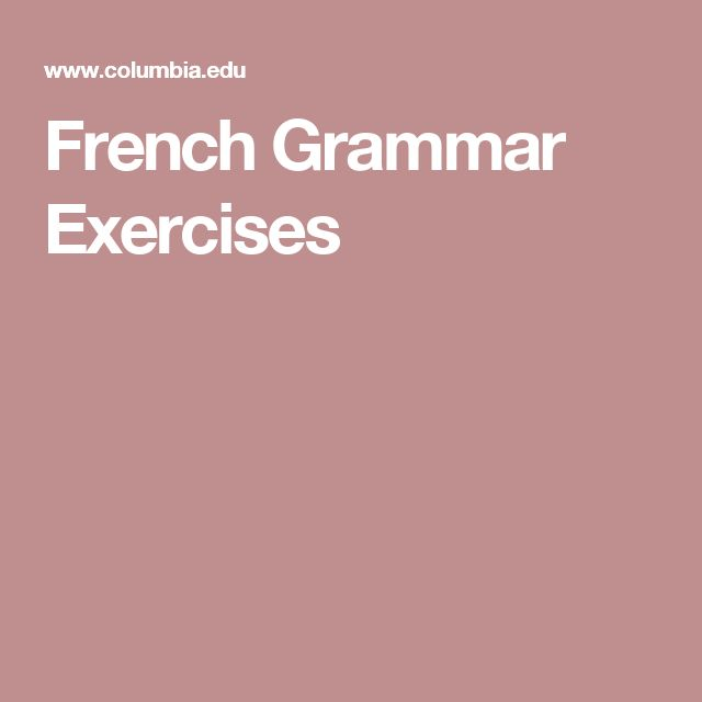 French Grammar Exercises