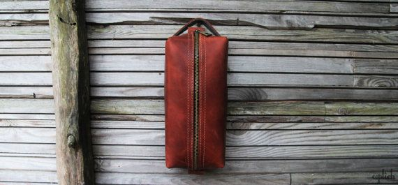 Groomsman Gift /Leather men's toiletry bag by OplichLeatherGoods