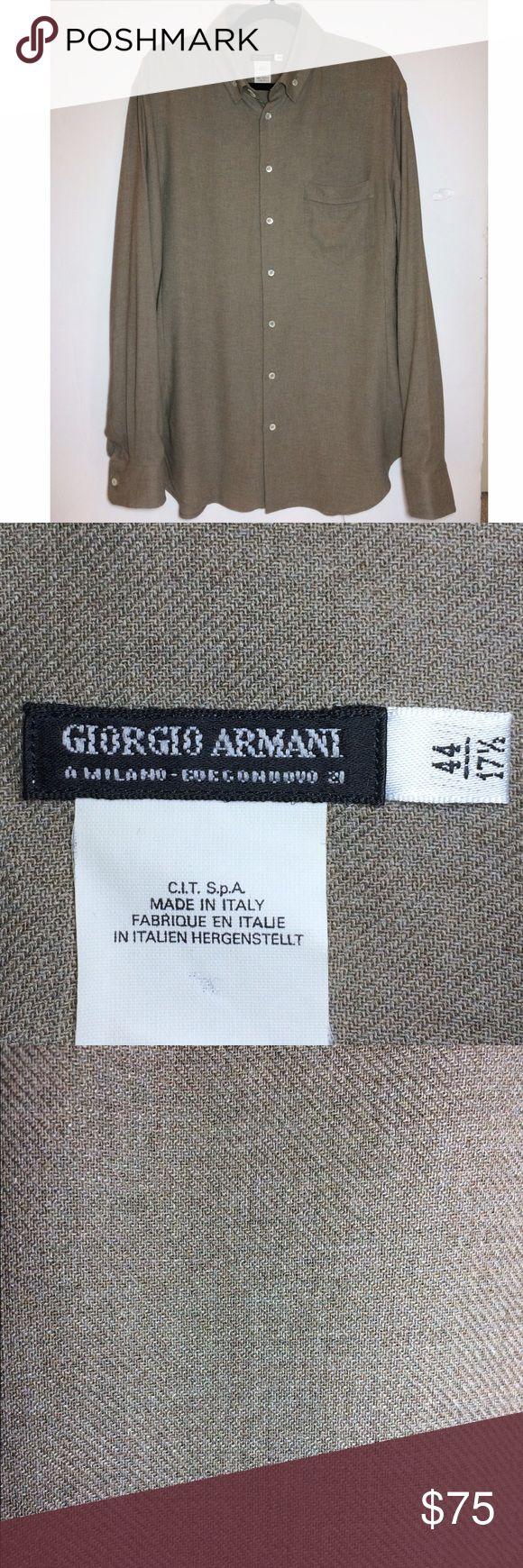 "Giorgio Armani Shirt Khaki/tan button dress shirt.  Gorgeous and in perfect condition!  High quality viscose woven fabric. Size 44/17.5 Neck. 32.5"" long. No trades. Giorgio Armani Shirts"