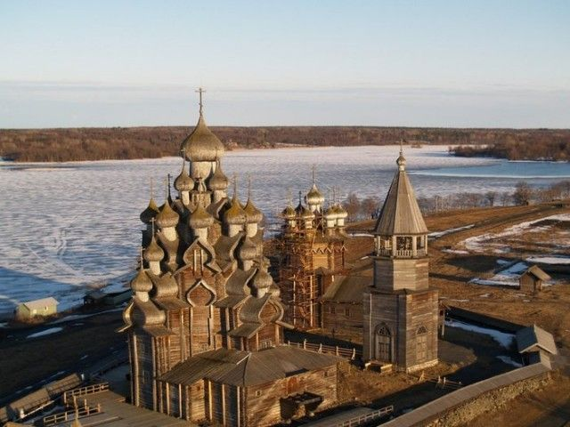 Кижи.Kizhi. The wooden ensemble is located on the island in Lake Onega.