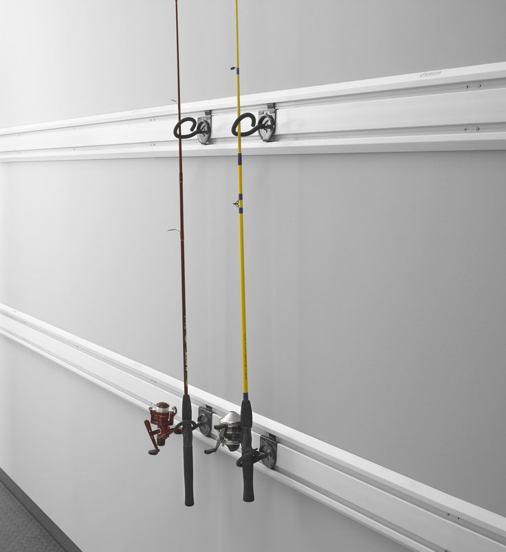 Fishing pole holder garage hook wall mounted fishing rack for Wall fishing rod holder