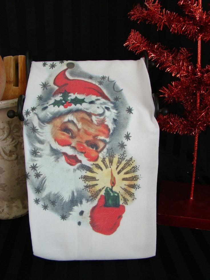 Retro Santa tea towel - Vintage looking Santa -Christmas Kitchen towel - Flour sack tea towel - Super cute. $12.00, via Etsy.