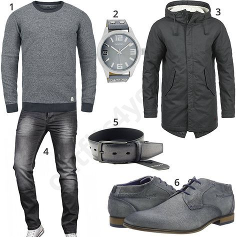 Graues Herrenoutfit mit Parka und Strickpullover (m0724) #jeans #oozoo #herrenuhr #parka #outfit #style #herrenmode #männermode #fashion #menswear #herren #männer #mode #menstyle #mensfashion #menswear #inspiration #cloth #ootd #herrenoutfit #männeroutfit