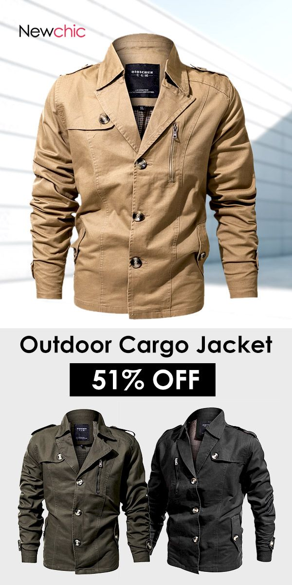 Mens Outdoor Military Epaulets 100%Cotton Casual Cargo Jacket  mensfashion   outdoor  jacket 3640ad150