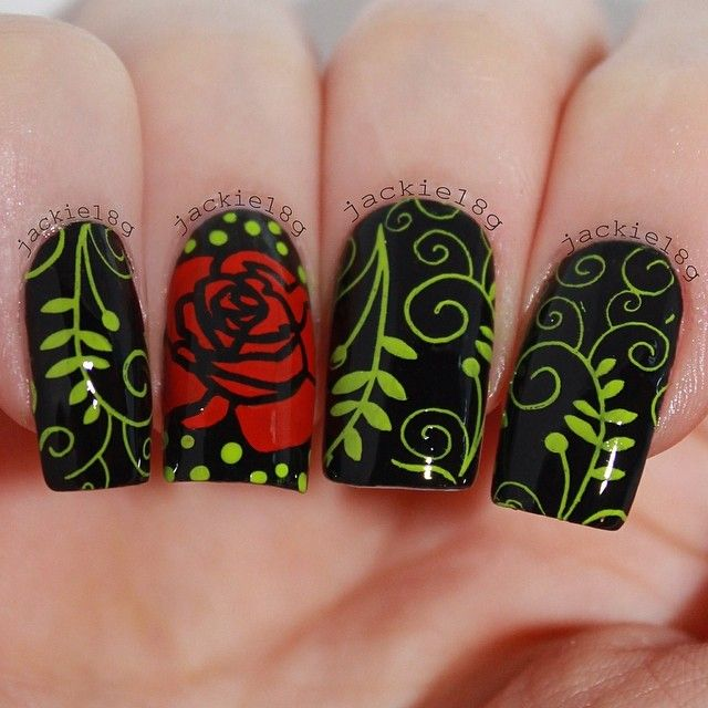 how to draw a rose nail art