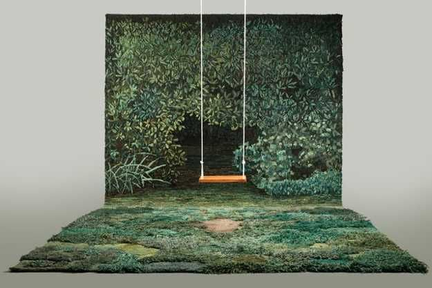 This is a bit much, but I do like the idea of having landscape wallpaper/tapestry and nature inspired carpeting.