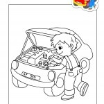 How to draw auto mechanic for Mechanic coloring pages