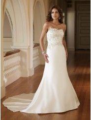 Satin Softly Curved Neckline Embroidered Bodice A-line Wedding Dress