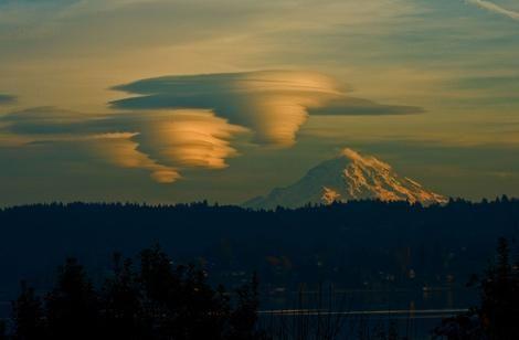 Lenticular clouds form over Mt. Rainier, Washington, United States by Amandabooberry