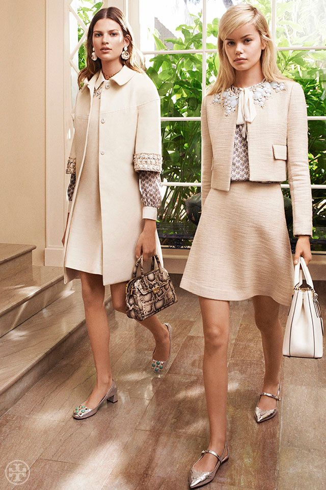 Jackets with built-in jewelry create effortless polish | Tory Burch Spring 2014