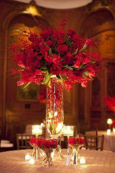 red reception wedding flowers