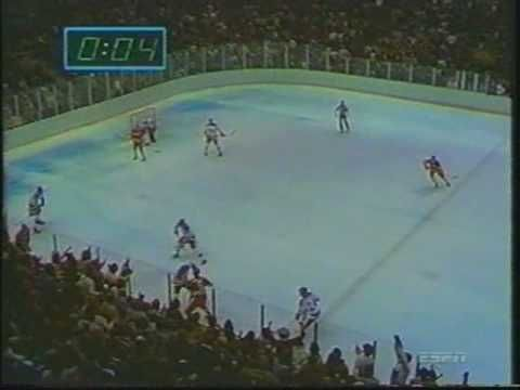 The last minute of the 1980 USA vs Soviet Union Olympic hockey game.  The miracle on ice.  I remember exactly where I was and who I was with when I watched it on TV all those years ago.  It is the most memorable moment in sports for me.