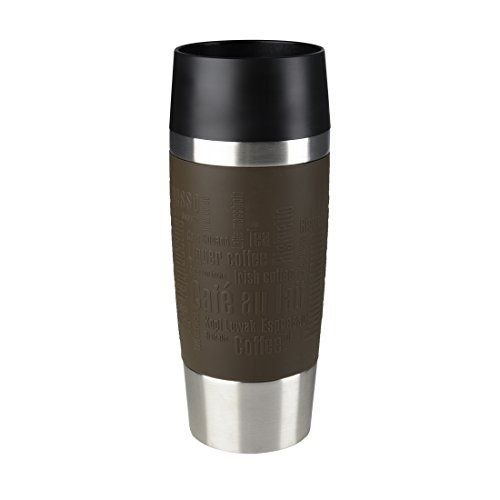 Emsa 513360 Isolierbecher, Mobil genie�en, 360 ml, Quick Press Verschluss, Braun, Travel Mug
