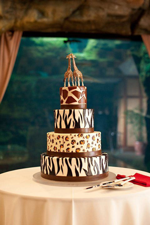 Animal print wedding cake. Cake: Sugaree Bakery, Dogtown, St. Louis, Missouri. Photographer: Lisa Hessel. Venue: St. Louis Zoo.
