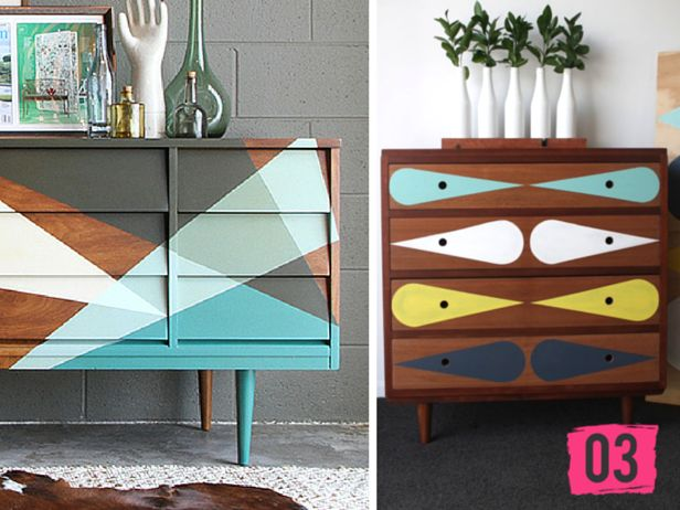 Painted Geometric Modern Dresser DIYs --> http://blog.hgtv.com/design/2015/03/17/modern-diy-dresser-inspiration/?soc=pinterest